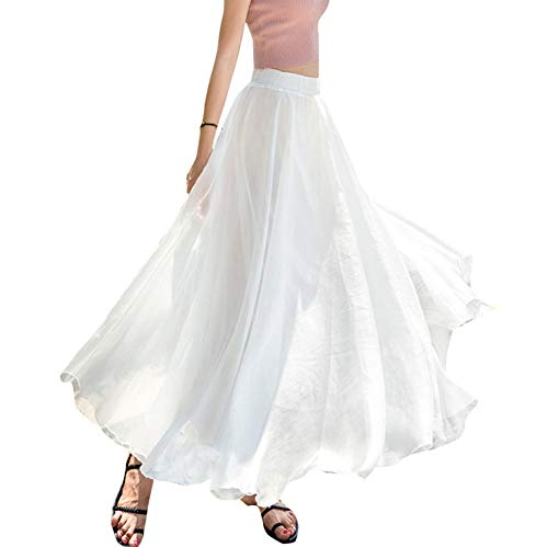 Teemall Women's Ankle Chiffon Long Skirt A-line Retro Skirts Pleated Beach Maxi Skirt (White) ()