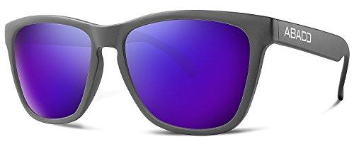 Abaco Kai Sunglasses Matte Black Frame Polarized Purple Mirror - Sunglasses Kai