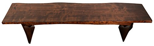 Live Edge Bench, 4 Foot, Solid Rustic Cherry Wood, Asbury Stain, Amish Made, ()