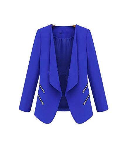 Abetteric Women Pork Chop Pocket Zip-Up Coat Jacket Short Overcoat Blazer AS1 L ()