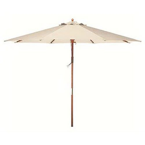 Market Umbrella Fabric: Natural, Opening Mechanism: Dual Pulley and Skylight, Pole Material: Teak Hard Wood (Umbrella Round 4 Pulley Market)