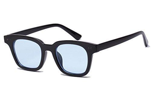 Bestum Inspired Square Sunglasses With Rivets Tinted Lens UV400 (Black, Light blue)