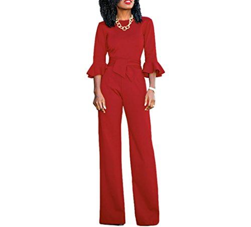 Corala Women Solid Long Sleeve Wide Leg Long Jumpsuits Romper Pants with Belt,Red,Large (Pant Ladies Suits)