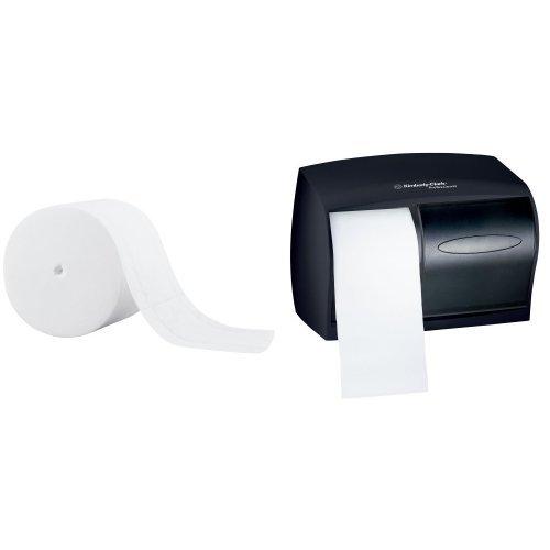 Kimberly-Clark Professional IN-SIGHT Double Roll Bath Tissue Dispenser With 36-Pack Scott Coreless Standard Roll Bath Tissue Refill Bundle
