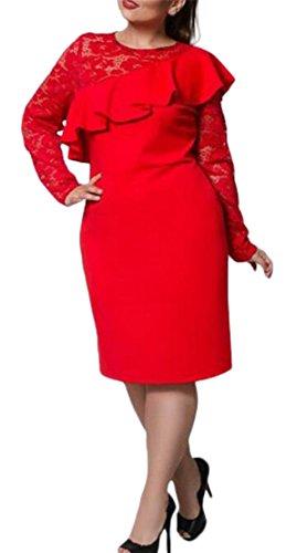 Jaycargogo Femmes Taille Plus Mode Coupe Décontractée Robes Robe De Soirée En Dentelle Couleur Unie Rouge