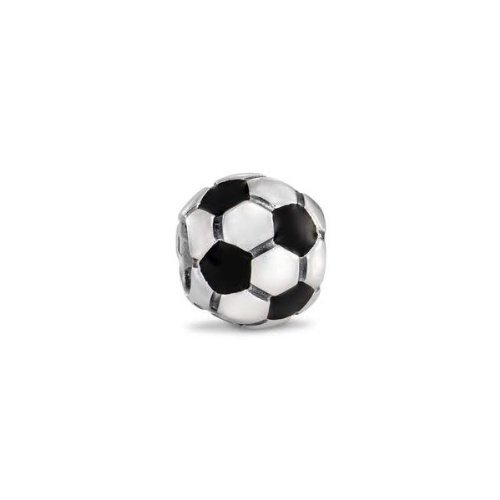 Soccer Ball Charm Bead. Fits Troll, Zable, Baigi, Chamilia Charm Bracelets.
