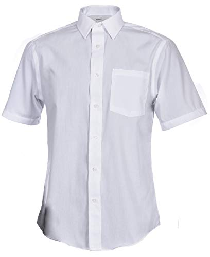 Shirts Classic Poplin Solid - George Men's Short Sleeve Poplin Solid White Classic Fit Button-Up Dress Shirt (2X, White)