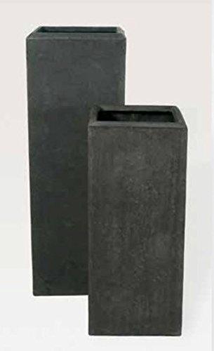 Blumenübertopf Polystone Square aus gemahlenen Stein und Kunststoff, nur für den Innenbereich geeignet, Farbe Schwarz 41x41x17cm