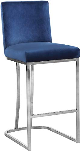"Meridian Furniture 708Navy-C Heidi Collection Navy Modern | Contemporary Velvet Upholstered Counter Stool with Polished Chrome Metal Frame, 16"" W x 19.5"" D x 36.5"" H,"