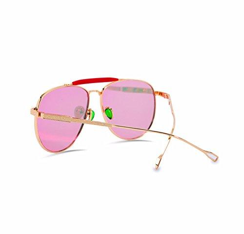 Mujer Metal Y Sol Rosa Reflectante Las Color De Fresco Xiaogege Gafas Púrpura wqRIKx0