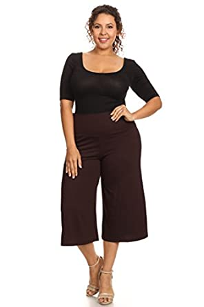 Plus Size Women's Gaucho Pants Knit Capri Culottes Lose Fit 1XL ...