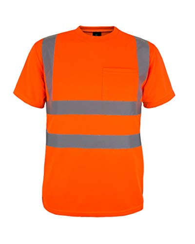 Kolossus 100% Polyester ANSI Class 2 Compliant High Visibility Short Sleeve Safety Shirt (Orange, - Class Mens Shirt