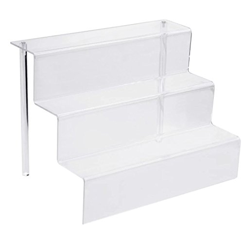 9-Inch W by 6.25-Inch D Amiibo Display Shelf 3 Step Acrylic Riser Clear by Combination of Life (Display Riser)