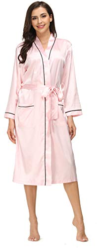 Kiddom Women Pajamas Silky Satin Robe Bathrobe Spa Loungewear Long Sleepwear with Pockets