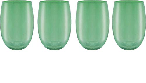 Circleware Uptown 44830 Stemless Wine Glasses, Set of 4, Party Entertainment Dining Beverage Drinking Cup Glassware for Water, Beer, Liquor, Whiskey & Bar Barrel Decor Gifts, 15 oz, Emerald Green 15oz