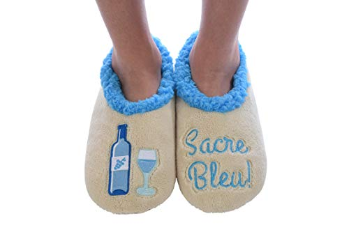Snoozies Womens Classic Splitz Applique Slipper Socks | Sacre Blue | Large