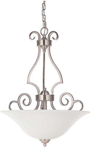 Craftmade 7118BNK3-WG Cecilia Bowl Inverted Pendant Lighting, 3-Light, 180 Watts, Brushed Polished Nickel (18