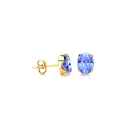 (3/4 Carat Oval Shape Tanzanite Stud Earrings In Yellow Gold Over Sterling Silver)