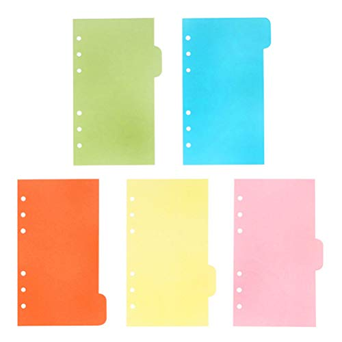 TOYMYTOY A6 Dividers,6 Holes Ring Colored Notebook Planner Divider Index Page Tab Cards School Stationery,6 sheets