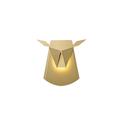 Modern Simple Metal Wall Decorative Wall Lamp High Brightness LED Light Source Creative Personality Corridor Staircase Loft Wall Lamp Height: 35.5 CM ( Color : Gold )