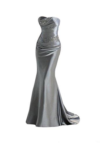 Damen Perlen Zusammenarbeit Mermaid emmani mit Trägerlos Ballkleid Silber vTZqvOdwfx