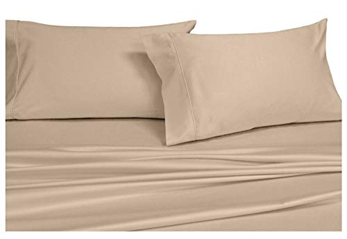 Royal Hotel Solid Tan Top-Split-King: Adjustable King Bed Size Sheets, 4PC Bed Sheet Set, 100% Cotton, 300 Thread Count, Sateen Solid, Deep Pocket
