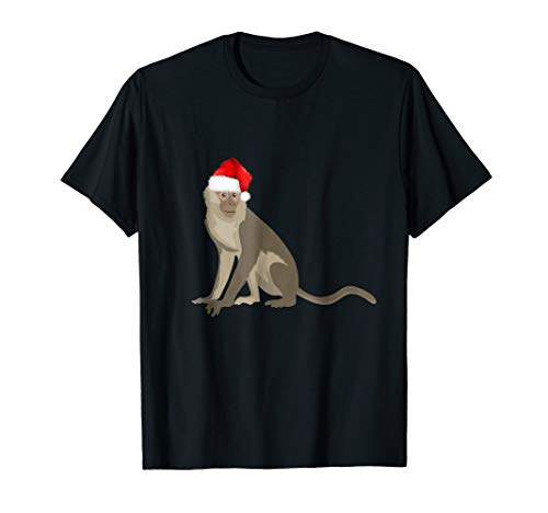 Christmas Pajama Shirt Christmas Monkey Santa Hat -