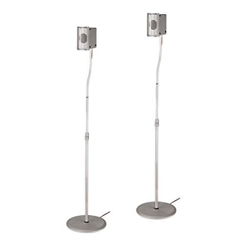 Hama Lautsprecherständer 2er-Set (höhenverstellbar bis 123 cm, je 5 kg belastbar, versteckte Kabelführung) silber