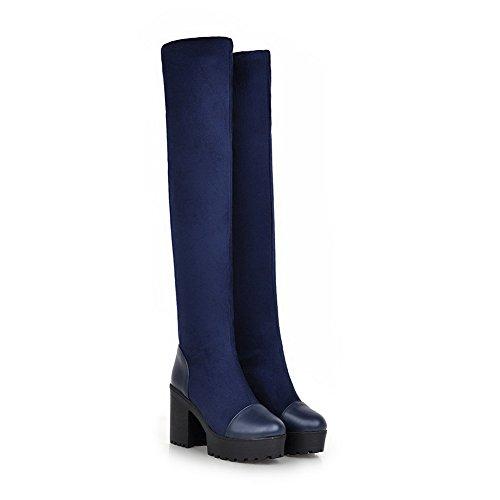 VogueZone009 Damen Hoher Absatz Rund Zehe Blend-Materialien Stiefel, Braun, 43