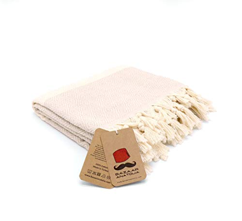 """Bazaar Anatolia Diamond Turkish Towel 100% Cotton Peshtemal Bath Towel 77x38 Thin Lightweight Travel Camping Bath Sauna Beach Gym Pool Blanket Fouta Bridesmaid Gift Quick Dry Towels (Cream) - HIGH QUALITY: Bazaar Anatolia Turkish towels are made in Turkey with high quality cotton. Quick dry towel absorbs water quite fast and dries very quickly without mildewy smell. Becomes softer and absorbent after several washes. MATERIAL and SIZE: 77x38"""" (196x98cm) 15 oz (420 Grams) Natural-dyed, pure 100% cotton, no harmful substances or chemicals, eco-friendly. Turkish beach towel is easy to carry, large and takes up less space. MULTI-PURPOSE: You can use as beach towel, bath towel, pool towel, bath towel, scarf, shawl or blanket. Also Turkish towels can be a unique idea for bridesmaid gifts, bachelorette party favors and wedding favors. You can use the pehstemal towel as a scarf on the outside, as a shawl on the terminal, as a travel blanket on an airplane, and as beach towels or turkish beach blanket when you get off the plane and go to the beach. - bathroom-linens, bathroom, bath-towels - 31o0x%2BRn7AL -"""