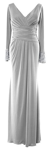 MACloth Women Long Sleeves V Neck Jersey Maxi Formal Evening Gown MOB Dress Plateado