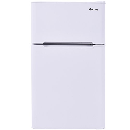 : Costway 2-Door Compact Refrigerator 3.2 cu ft. Unit Small Freezer Cooler Fridge (White)