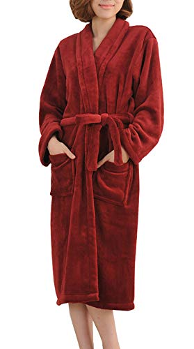 Femaroly Autumn and Winter Thick Flannel Bathrobes Nightgown Long-Sleeved Sleepwear for Women Wine Red X-Small