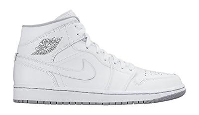 Nike Men's Air Jordan 1 Mid White/White/Wolf Grey Basketball Shoe - 8.5 D(M) US