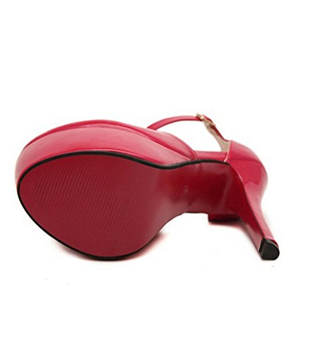 Pumps Sexy Wasserdichten Verschluss PATENT Dünne Absatz-Schuhe Red