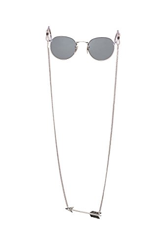 Sintillia Arrow Backlace Sunglass Strap, Glasses Chain, Eyeglass Cord Silver Chain with Clear Attachments