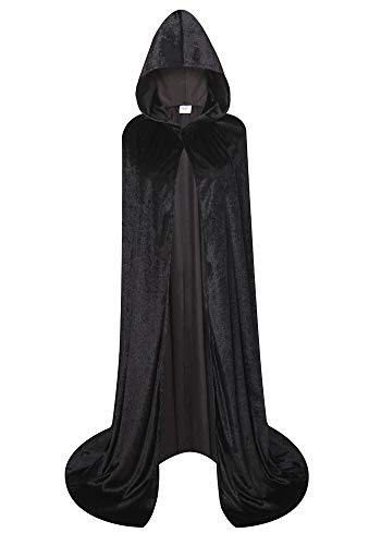 - Deluxe Velvet Cloak/Cape with Lined Hood for Kids/Adults(Black, 31.5 inches)