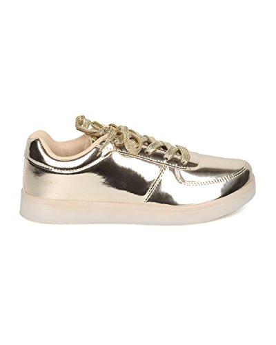 Alrisco Dames Oplichten Oplaadbare Led-sneaker - Casual, Feest, Festival - Flitsende Sneaker - Gf37 Van Goud