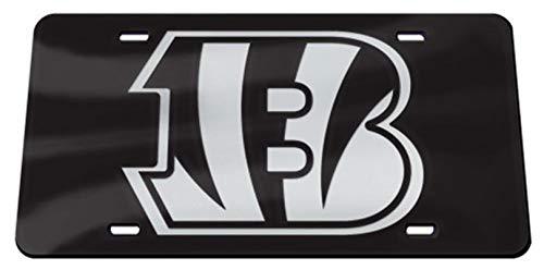 Cincinnati Bengals B-Logo WC Premium BLACK Laser Tag Acrylic Inlaid License Plate ()