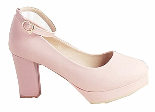 2015 Frauen-Pumpen-Gladiator-Absatz-Plattform-Pumpen reizvolle Knöchel-Bügel-Schuhe Pumps rosa