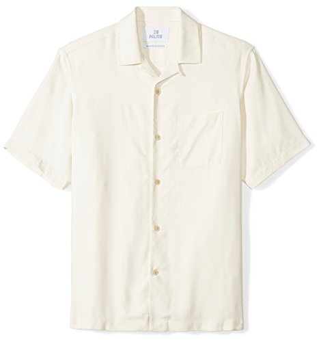 (28 Palms Men's Relaxed-Fit 100% Silk Camp Shirt, Natural, XX-Large)