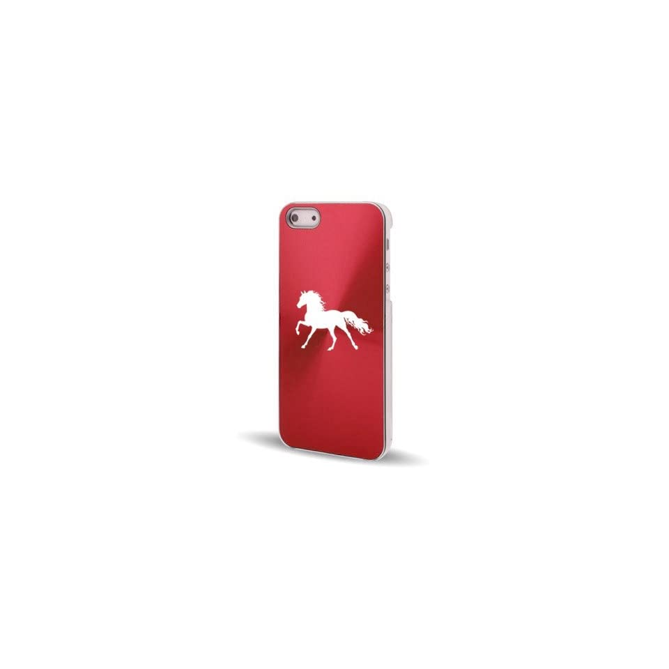 Apple iPhone 5 5S Rose Red 5C587 Aluminum Plated Hard Back Case Cover Horse