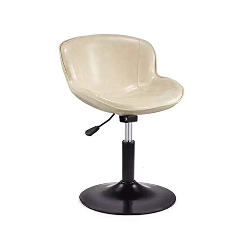 Moolo Bar Stool Chair,360°Swivel Height Adjustable Soft and Comfortable Oil Wax Leather Polymer Black Spray Technology Barstools (Color : White)