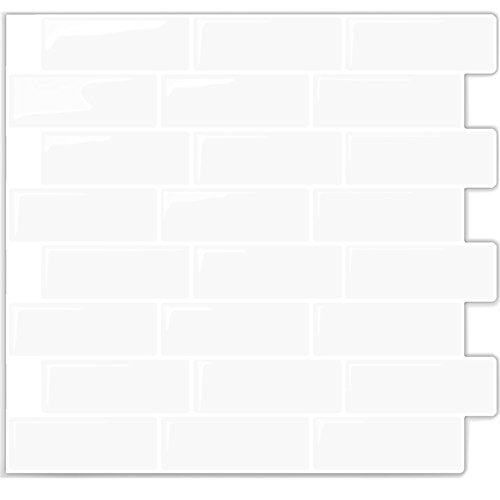 Peel & Stick, Self-Stick On Backsplash Subway Sticker Tile Kitchen & Bathroom Walls (White) - Vinyl Self Adhesive with Epoxy Finish / Anti-Mold - 10