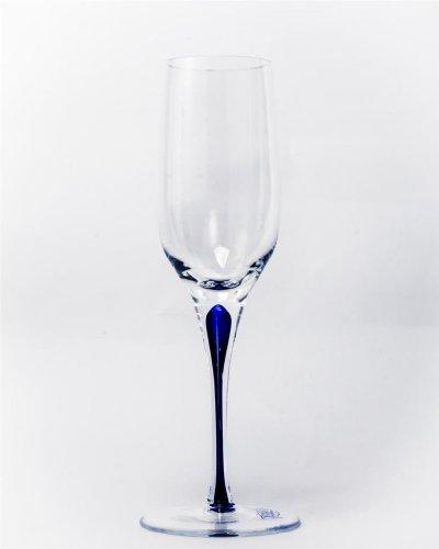 Set Of Two (2) - Romanian Crystal Barware - Blue Stemmed Glassware - 9