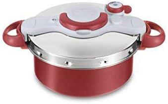 طنجرة الضغط من تيفال، 6 برامج طبخ، بسعة 5 لتر، أحمر وفضي