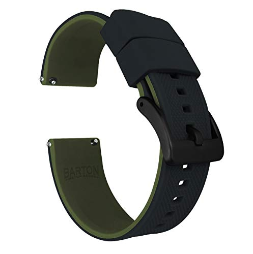 Black Silicon Strap - Barton Elite Silicone Watch Bands - Black Buckle Quick Release - Choose Strap Color & Width - Black/Army Green 22mm