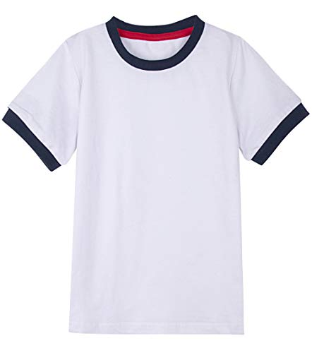 (A&J DESIGN Big Boys Ringer Short Sleeve Solid Cotton T-Shirt (White/Navy Blue, Youth Large))