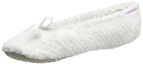 Isotoner Popcorn Terry Ballet - Zapatillas de estar por casa Mujer Blanco - blanco