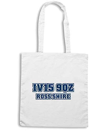 POSTCODE ROSS Shirt Bianca Shopper Borsa Speed COUNTY WC1462 xn0qUBnHz